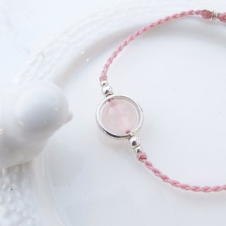 Big staff Taipa [manual silver] pink crystal × globe Brazilian wax rope bracelet handmade sterling silver
