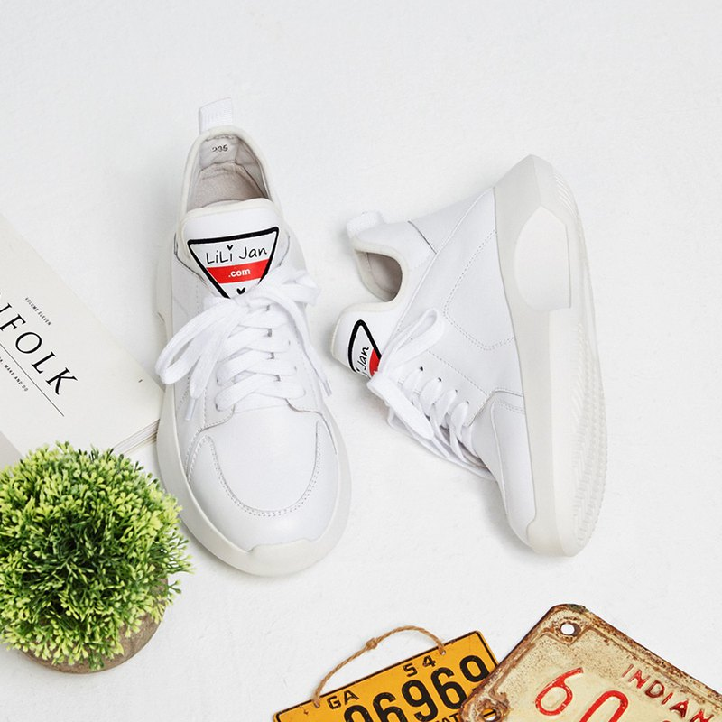 [Love's sign] elastic shoe mouth shape bottom leather casual shoes _ white lovers