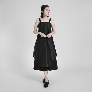 Swish slogan stitching dress _8SF122_Black