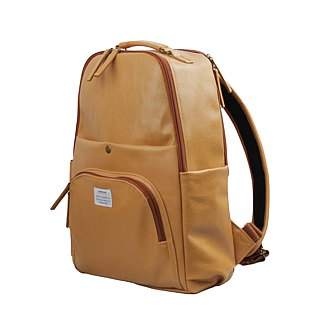 AMINAH-Brown multi-level backpack [am-0298]