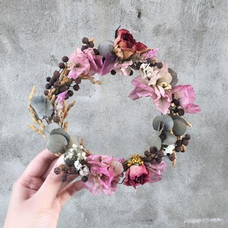 Hand gradient color dried rose garland wreaths bougainvillea spot