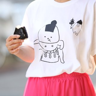 Rice ball T-shirt Dokoko ver. White
