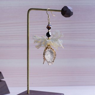 Clara | Gorgeous Dangle Golden Plating Floral Earrings - Fabric flower gifts