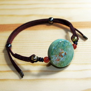 Hand painted goldfish wood charm faux suede bracelet with agate