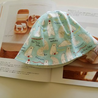 Lake water green polar bear baby bonnet moon gift baby hat fisherman hat baby hat