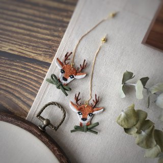 Littdlework Hand Embroidered Earrings | Mori Elk <925 sliver>
