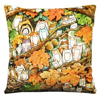 "afu illustration heart-warming pillow ""oak fruit cat chorus club"""