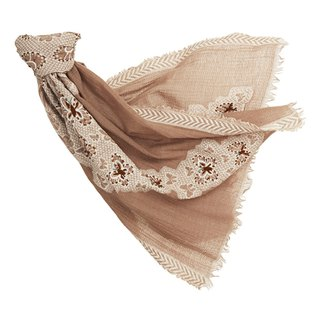 [Angel Woolen] Butterfly Dance Indian Hand Embroidered Wool Shawl - Camel