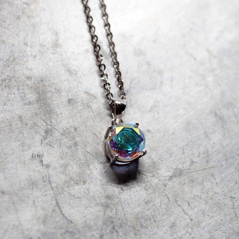獨角獸彩虹神秘石英圓形吊墜項鍊-925純銀