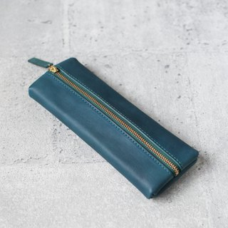 Vegetable tanned cowhide lake green flat rectangular leather pencil case - limited color