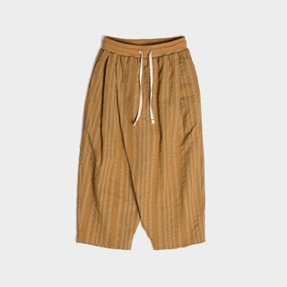 Oblique open linen linen drawstring striped wide leg pants