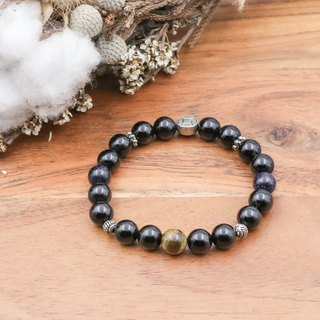 Eyes of the Planet | Black Agate Yellow Tiger Eye Stone Blue Sand Stone Natural Stone Bracelet