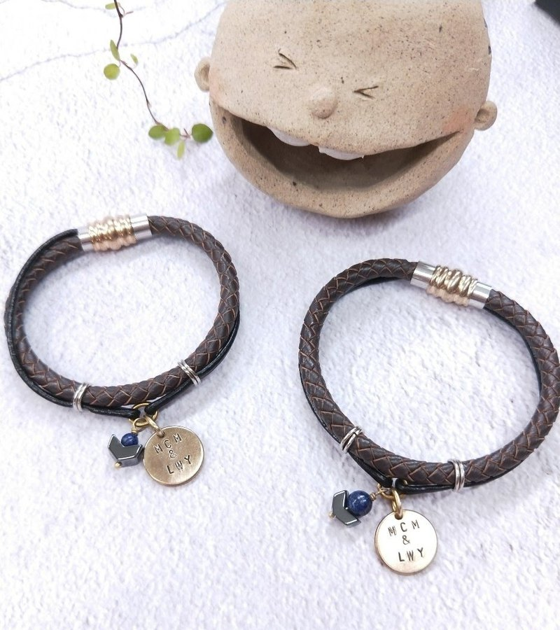 wristband.*Customized Lettering*Lapis Lace Double Leather Round Bracelet [2pcs Discount Set] Valentine's Day