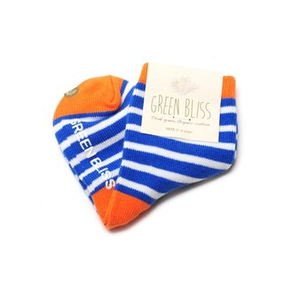 GREEN BLISS Organic Cotton Socks - [Baby Series] Baobab Orange Blue and White Striped Children's Socks