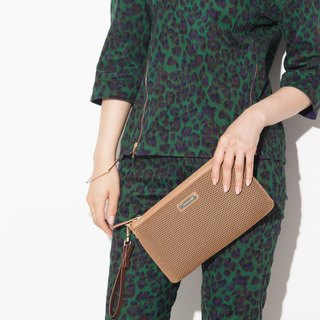 Mesheen light. Fashion mesh long section cowhide leather clutch (khaki)