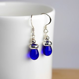 Candy Jewelry blue velvet glazed sterling silver earrings (can be clipped)