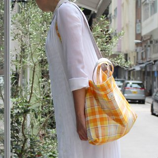 2x2BAG double-sided cloth bag | orange plaid thick cotton cloth + flower gray cotton cloth