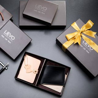 【LIEVO】 EASY - Genuine leather card holder _ original leather color + GRACE - Wax leather short clip gift set