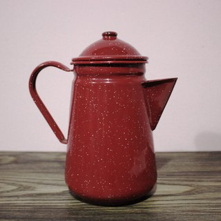 (Italian brought back Vintage European antiques) dark red little white teapot (coffee shop decoration)