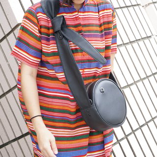 Circle crossbody bag tie strap black colour