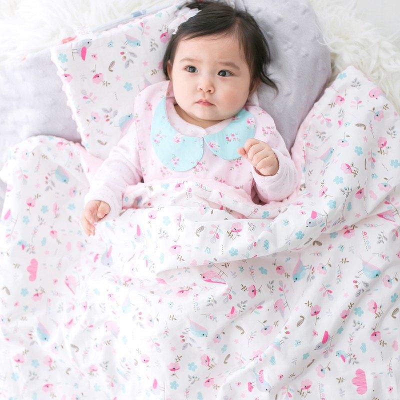 Minky加厚夾層棉毯枕套裝 點點顆粒 攜帶毯嬰兒毯 粉色-小鳥