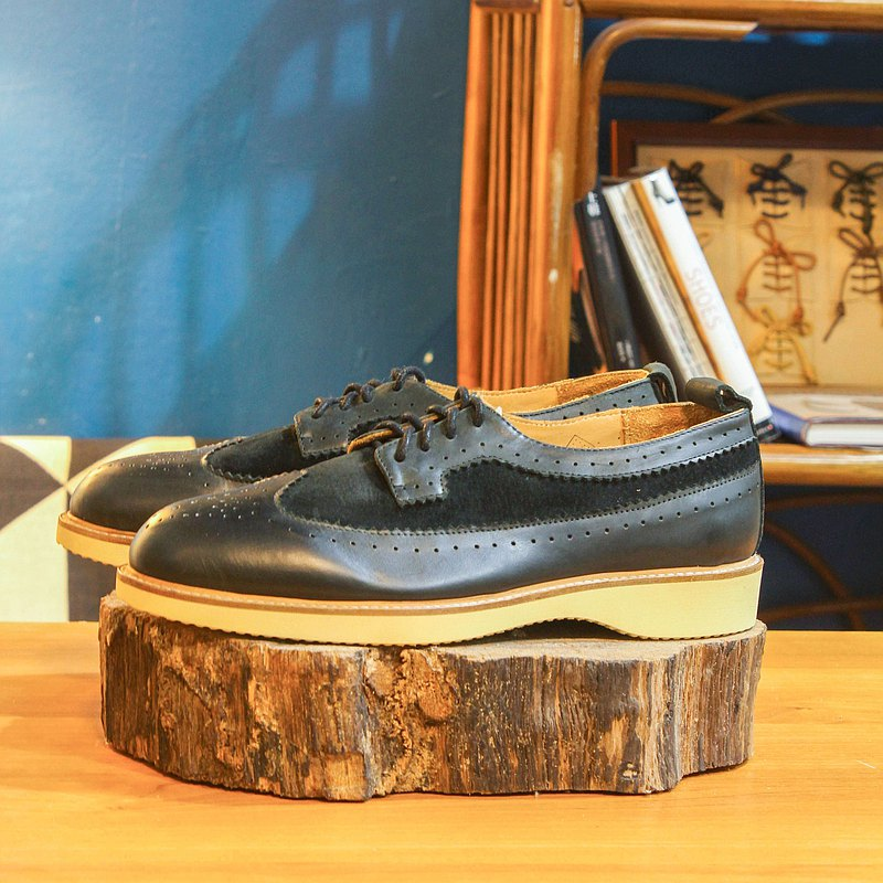 [Show samples] Handmade custom brogue carved shoes-BR03 black leather shoes men's gentleman shoes