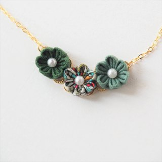 Lovely Green Fabric Flowers 16KGP Chain Necklace Custom