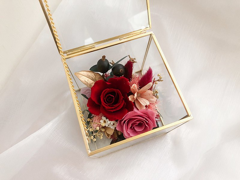 Rose Eternal Flower Glass Cover Jewelry Box Birthday Gift Valentine's Day Mother's Day Gift