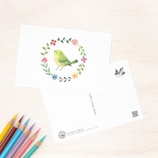 "4 pieces set. Like a picture book. Post card ""green bird and flower ring"" PC-43"