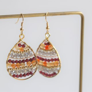 Garnet and red agate wire wrapped dangle earrings - 18k gold plated earrings