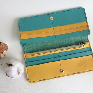 Summer style long clip _ leather hand-sewn Bright Handcraft Wallet