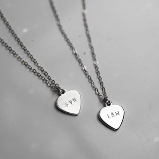 Silver Stamping Heart Charm Necklace