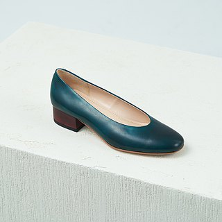 H THREE round head 3.4 heel shoes / malachite green / heel shoes / leather shoes