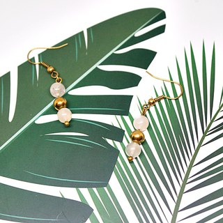 Brass X Natural Stone <Jungle>-Hook Earrings