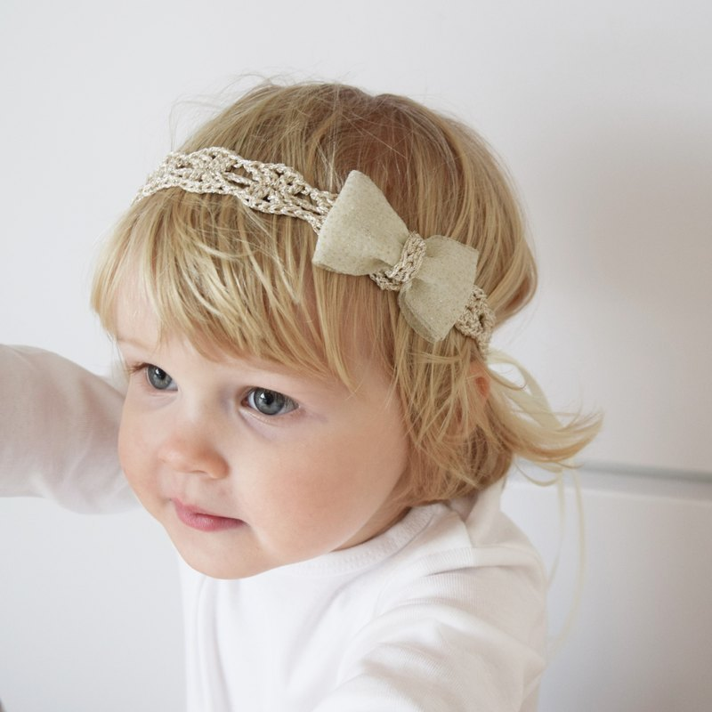 Golden Baby Headband, Crochet Bow Headband, Adjustable Length Gold Headband