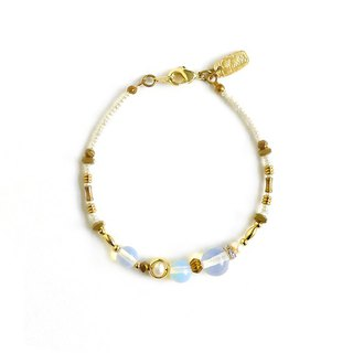 Ficelle | handmade brass natural stone bracelet | [Opal] imitation of the outline