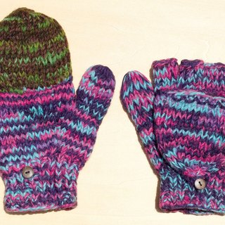 Limited Christmas gift a knitted pure wool warm gloves / 2ways Gloves / Toe gloves / bristles gloves / knitted gloves - mixing gradient blue and purple stars