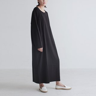 Long-sleeved black gray matryoshka minimal loose cotton knotted dress Tee skirt super long big-fashioned dress