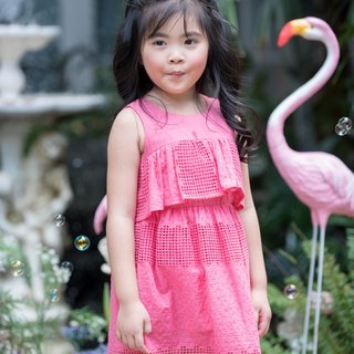 Girls Lace Dress Cotton-Color Coral