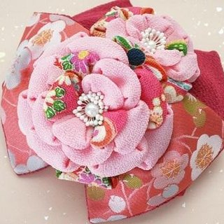 [Large ribbon / pink and pink camellia] knob crafted of hair ornaments seven hundred fifty-three