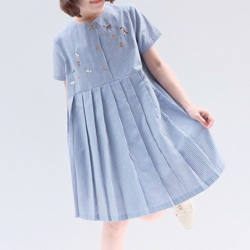 "Mumu Dress -""playing with my cats"" theme (blue grey color)"
