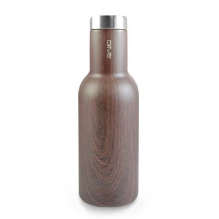 Driver fashion hot and cold thermos bottle 580ml-wood color (with kuso stickers optional)