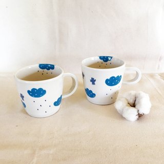 Bird and cloud handmade mug