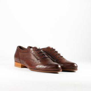 ITA BOTTEGA【Made in Italy】Italian leather deep coffee classic carved oxford shoes