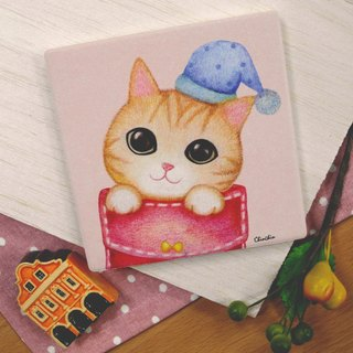 ChinChin hand-painted ceramic water coaster cat - cat trick or treat bag