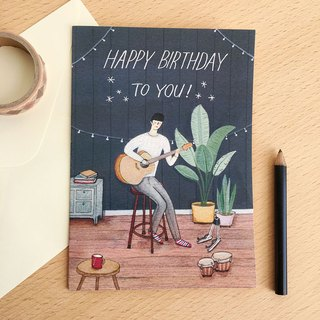 Birthday card- Guitar boy-with envelope