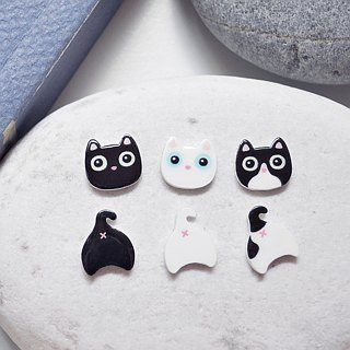 Stupid cat handmade earrings anti-allergic ear acupuncture painless ear clip black cat white cats