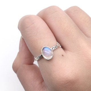 Moonstone sterling silver simple side carved ring Nepal handmade mosaic production