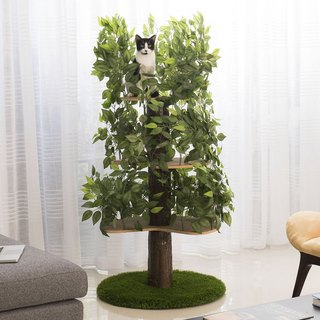 American On2Pets Lifelike Cat Tree Jumping Platform - Four Layers (Circular Base)