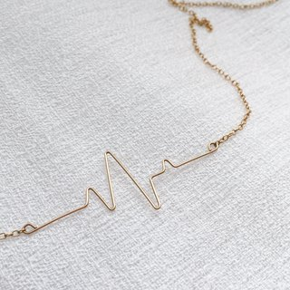 heart / ECG wave gold filled necklace